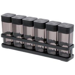 Yamazaki Home Tower 6 Jar Spice Jar & Rack Set Plastic/Steel in Black, Size 3.6 H x 1.3 W x 1.6 D in   Wayfair 3348