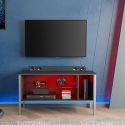 """Wade Logan® Mcmiller TV Stand for TVs up to 50"""" Wood in Gray/Black, Size 22.05 H x 44.09 W x 15.75 D in 