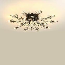 Rosdorf Park Modern Crystal Ceiling Lamp, Flower Ceiling Lamp (15 Lamp Holders).Acrylic in Black, Size 3.0 H x 35.5 W x 35.5 D in | Wayfair