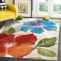 Red Barrel Studio® Modern Floral Area Rug - Non Slip Large Flower Carpet For Indoor Rugs - Living Room, Bedroom, Kitchen & Hallway Mats   Wayfair