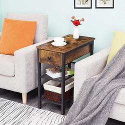 17 Stories Side Table, Industrial End Table w/ Drawer & 2 Open Mesh Shelves, Narrow Nightstand For Small Spaces, Bedroom, Living Room, Office