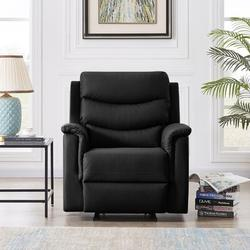 Latitude Run® 1-Seater Rocker Motion Recliner PUFaux Leather in Black/Green, Size 39.3 H x 34.6 W x 37.8 D in | Wayfair