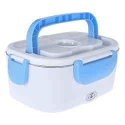 Prep & Savour Portable Electric Heating Lunch Box Bento Heater Stainless Steel Food Container Stainless Steel in Blue, Size 3.9 H x 9.0 W x 6.5 D in