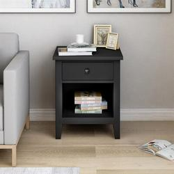 Red Barrel Studio® U_Style 1 Drawer Nightstand Solid Wood, Traditional Design Wood in Black, Size 24.0 H x 20.9 W x 18.1 D in | Wayfair