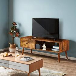 """Millwood Pines 41"""" Retro Tv Stand, Mid Century Modern Tv Console w/ 2 Storage Shelves, Coffee Table For Flat Screen Tv, Gaming Consoles in Brown"""