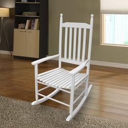 Red Barrel Studio® Wooden Porch Rocker Chair Red Wood in White, Size 45.25 H x 32.85 W x 24.5 D in   Wayfair A9FA5C2E70724AC6B3CB101B52A83CF4