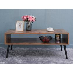 """George Oliver 43.2"""" Mid-Century Modern Coffee Table w/ Storage Shelf For Living Room, TV Table, Rectangular Sofa Table, Office Table in Brown"""