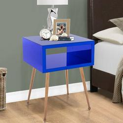 Everly Quinn MIRROR END TABLE MIRROR NIGHTSTAND END&SIDE TABLEStainless Steel in Blue/Brown, Size 23.22 H x 15.16 W x 17.91 D in | Wayfair