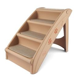 Tucker Murphy™ Pet Pet Stairs, Folding Plastic Ladders Step Ramp For Dog Cat Animal, Foldable & Portable For Indoor Outdoor in Brown | Wayfair