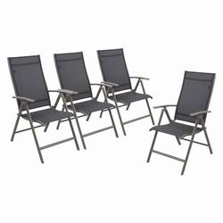 Arlmont & Co. Set Of 4 Patio Folding Chairs 4-pack Dining Chairs Outdoor Adjustable Recliner Portable Sling Chair w/ Armrest For Camping, Beach