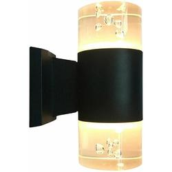 Orren Ellis Outdoor Wall Sconce, LED Wall Lights Sconce Lighting Fixture. in Black/White/Yellow, Size 8.26 H x 3.54 W x 0.0 D in   Wayfair