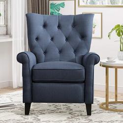 Red Barrel Studio® Recliner Elizabeth Accent Chair For Living Room Easy To Push Mechanism, Elegant Roll Arm Chair in Black/Blue | Wayfair