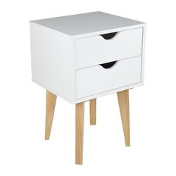 George Oliver Mid Century Modern Nightstand – MDP Bedside Table Night Stand – Premium Quality Wood – Available In Black in White   Wayfair