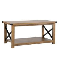 Gracie Oaks Industrial Modern Coffee Table End Side Table For Living Room, 2-tier Tea Table w/ Storage Shelf in Brown/Yellow | Wayfair