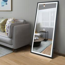 Latitude Run® LED Full Length Mirror Wall Mounted Lighted Floor Mirror Dressing Mirror Make Up Mirror Bathroom/Bedroom/Living Room/Dining Room/Entry Dimmer Touch Sw Metal