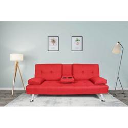 Latitude Run® Futon Sofa Bed Twin Size Sleeper, Convertible Linen Fabric Sleeper Sofa-Recliner Lounge Futon Couch w/ 2 Cup Holders in Red | Wayfair