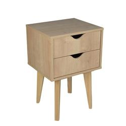 George Oliver Mid Century Modern Nightstand – MDP Bedside Table Night Stand – Premium Quality Wood – Available In Black, White in Brown   Wayfair