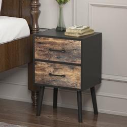 Wade Logan® Carthage 2-Drawer Wooden Nightstand In Black Wood in Black/Brown, Size 23.6 H x 15.7 W x 11.6 D in   Wayfair