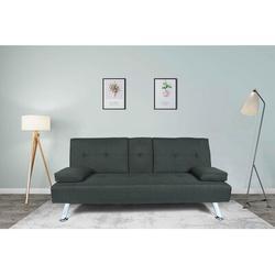 Ebern Designs Futon Sofa Bed Twin Size Sleeper, Convertible Linen Fabric Sleeper Sofa-Recliner Lounge Futon Couch w/ 2 Cup Holders in Gray | Wayfair