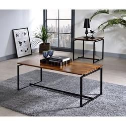 Orren Ellis Modern Contemporary Home Office Utility Coffee Table End Table Set Of 3 Oak & Finish ( 1 Coffee Table, 2 End Tables ) Wood in Black