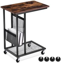 17 Stories Sofa Sidetable,Mobile C Shaped End Table Snack Table w/ Wheels&Side Pocket,Industrial End Table For Coffee Laptop in Brown | Wayfair