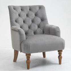 House of Hampton® VelvetAccent Chair Tufted Arm Club Chair Single Sofa w/ Wooden Legs Comfy UpholsteredVelvet in Gray | Wayfair