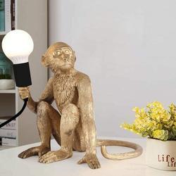 Trinx Table Lamp Resin Sitting Monkey Bedside Lamp Creative Loft Monkey Lighting Fixture Resin in Yellow, Size 11.8 H x 10.6 W x 11.0 D in   Wayfair