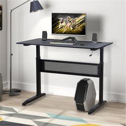 """Inbox Zero Office Desk/Adjustable Height Standing Desk w/ Crank Handle,Adjustable Height From 28.7"""" To 44.5""""(Black) Wood/Metal in Black/Brown"""