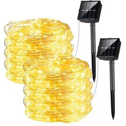 The Holiday Aisle® Solar Warm White String Lights Outdoor, 2 Pack 39ft 100 Led Solar Fairy Lights, 8 Modes Solar Copper Wire Twinkle Lights For Patio