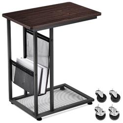 17 Stories Sofa Sidetable,Mobile C Shaped End Table Snack Table w/ Wheels&Side Pocket,Industrial End Table For Coffee Laptop in Black | Wayfair