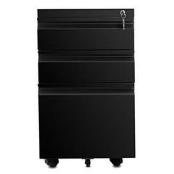 Inbox Zero 3 Drawer File Cabinet w/ Lock, Vertical Filing Cabinet Under Desk For Legal Letter File Anti-Tilt Design Office Rolling File Cabinet