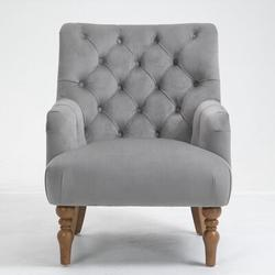 Rosdorf Park VelvetAccent Chair Tufted Arm Club Chair Single Sofa w/ Wooden Legs Comfy UpholsteredVelvet in Gray, Size 36.0 H x 28.7 W x 33.0 D in