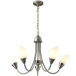 Winston Porter Modern & Simple 5 Heads Chandelier w/ Alabaster Glass Lampshade (Silver) Glass/Metal in Gray | Wayfair