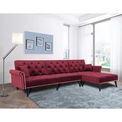 """House of Hampton® Abubokar 115"""" Wide Velvet Reversible Sleeper Corner Sectional Upholstery/Velvet in Red, Size 32.3 H x 115.0 W x 59.37 D in Wayfair"""