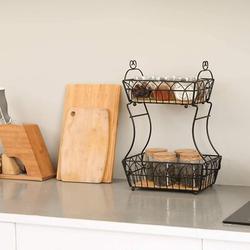 Red Barrel Studio® 2-Tier Fruit Basket For Kitchen,Metal Fruit Bread Holder, Vegetable Bowl For Counter,Detachable Display Stand For Fruit in Black