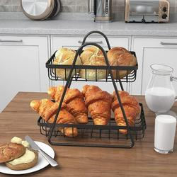 Prep & Savour 2-Tier Countertop Fruit Basket For Kitchen Metal Fruit Bowl Bread Basket Vegetables Storage Organizer Holder in Black   Wayfair