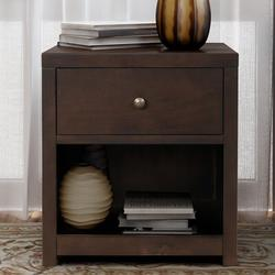 Red Barrel Studio® 1 Drawer Solid Wood Nightstand Sofa End Table In Rich (Nightstand Of Freely Configurable Bedroom Sets) in Brown | Wayfair