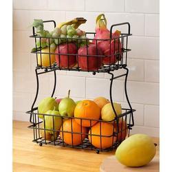 Prep & Savour 2-Tier Fruit Basket, Kitchen Counter Fruit Bowl Storage Holder For Fruits Vegetables Bread Snacks in Black | Wayfair