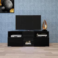 Orren Ellis Modern Minimalist TV Cabinet Living Room w/ 20 Colors LED Lights,TV Stand Entertainment Center Modern High-Gloss LED TV Cabinet in Black