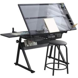 Inbox Zero Height Adjustable Draft Drawing Desk,up To 72°tiltable Binderveld Top W/stool & Drawers For Reading, Writing Art Craft Work Station