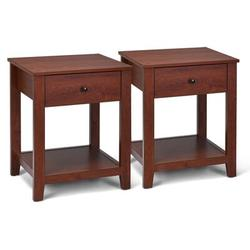 Red Barrel Studio® Set Of 2 Night Stand End Side Table Wood in Brown, Size 24.5 H x 20.0 W x 17.0 D in   Wayfair 5164A030648244B8BFC22B99DEB473B8