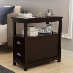 Red Barrel Studio® End Table Narrow Nightstand w/ Two Drawers & Open Shelf,Narrow Nightstand For Small Space, In Living Room Bedroom Balcony in Brown