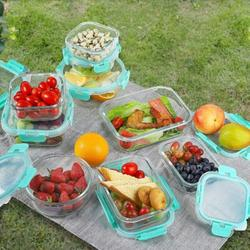 Prep & Savour Glass Food Storage Containers w/ Lids, [18 Piece] Glass Meal Prep Containers, Airtight Glass Lunch Bento Boxes in Blue   Wayfair