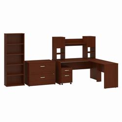 Commerce 60W L Shaped Desk with Hutch, File Cabinets and Bookcase in Autumn Cherry - Bush Furniture CMM016AT