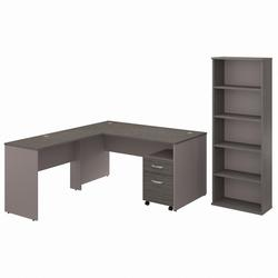Commerce 60W L Shaped Desk with Mobile File Cabinet and Bookcase in Cocoa and Pewter - Bush Furniture CMM006COP
