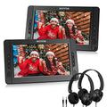 """WONNIE 10.5"""" Dual Portable DVD Player for Car, Headrest Kids CD Players with Two Headphones Built-in 5 Hours Rechargeable Battery, Support USB/SD/MMC,Regions Free,AV Out & in (1 Player+1 Monitor)"""