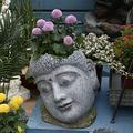 Zen Buddha Planter–Buddha Head Planter Pot Face Planter Zen Statue Plant Pot Holder,for Succulent,Flower,Cactus Garden Statue Indoor Or Outdoor Decor,14.2inch