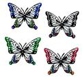 Luoyuxia 4 PCS Metal Butterfly Wall Decor 3D Metal Colorful Hanging Butterflies Ornaments for Kitchen, Outdoor, Fence, Garden, Yard Decoration Outdoor or Indoor Home Wall Sculpture Art Decorative