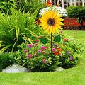 Yellow Stainless Steel Sunflower Windmill Garden Art Garden Decoration ,Wind Spinner Metal Yard Art 3D Stainless Steel Sunflower Wind Spinner Outdoor Wind Sculpture for Patio, Lawn ,Garden Decor