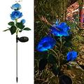 Solar Flower Lights Outdoor Waterproof LED Solar Powered Light with 3 Rose Realistic Flowers Bigger Solar Panel Lights 2Pack Solar Decorative Lights for Patio Pathway Garden Backyard Lawn (Blue)